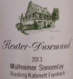 Reuter Dusemund Muelheimer Sonnenlay Riesling Kabinett feinherb 0,75l 2019er